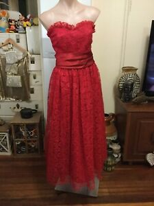 Vintage Cocktail Party Dress Red Lace Strapless Ankle Length Fitted Bodice 12-14