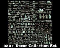350+ Pcs 3D STL Models Decor Set CNC Router Carving Machine Artcam aspire Cut3D