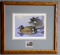 1989 MD WATERFOWL PRINT FRAMED ARTIST SIGNED/NUMBERED W/ MINT STAMP (ESP 008)