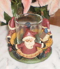 ~One (1) Santa'S No Pouting Ho Ho Ho Primitive Candle Holder By Blossom Bucket