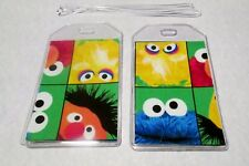 Luggage Tags Sesame Street fabric & vinyl PAIR cruise kids ID child travel ID