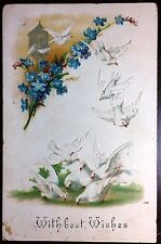 1908 Postcard With Best Wishes White Doves Patern Lightly Embossed