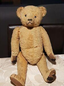 Bel OURS PELUCHE teddy Bears 50 cm debut XXeme , en MOHAIR BLOND , jambe refixer