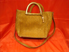 Vintage Fossil Hand Bag - Purse Leather, Wicker w/ Wooden Handles