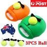 Single Tennis Trainer Training Practice Rebound Balls Back Base Tool + 3 Ball WH