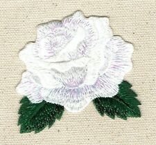 Single WHITE Rose - Open Petals - Flower - Iron on Applique/Embroidered Patch