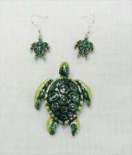 Green Sea Turtle Jewelry Set Slide Charm Necklace Pendant & Matching Earrings