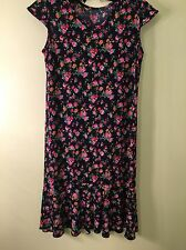 Womans dress no tag very pretty navy with rose print Made in Korea