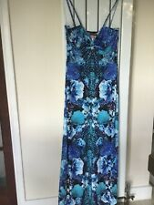 LIPSY LADIES BLUE TROPICAL FLORAL MAXI DRESS SIZE 12