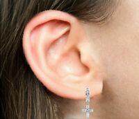 Sterling Silver Cubic Zirconia Religious Cross Huggie Huggy Hoop Earrings 26mm