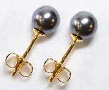 GOLD DOUBLE *** Ohrstecker vergoldet Perlen schwarz 6mm