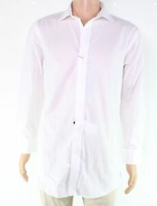 Lauren By Ralph Lauren Mens Dress Shirt White Size 17 Slim Stretch $79- 168