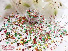 UNGHIE Grosso Natale * palline * Argento Rosso Oro DOT CERCHIO Glitter Spangle MIX Pot