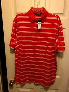 L POLO GOLF SHIRT Ralph Lauren Pima Cotton Bittersweet Orange Striped
