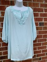 Soft Surroundings 100% Silk Blouse Blue Beaded Tunic Top 3/4 Sleeve Shirt