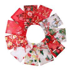 10Pc Candy Bag Christmas Bronzing Elk Snowflake Drawstring Gift Yarn Bag Packing