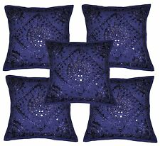 "Indian 16"" Blue Embroidered Mirror Work Cushion Throw Pillow Cover Lot Of 5 pcs"