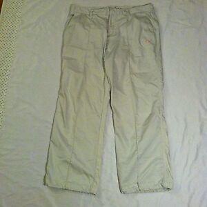 Women's PUMA Golf Pants Size W36 L28 Khaki Tab Waist Pleated VGC