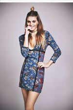 NEW $250 Free People blue Special Edition Mini Cte d'Azur Bodycon Dress 2 Deep V