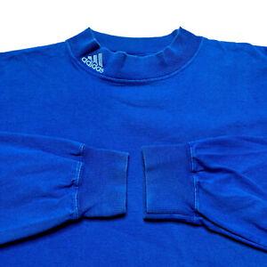 Vintage Adidas Tonal Logo Mock Neck Long Sleeve T Shirt Blue 2XL 90s Made In USA