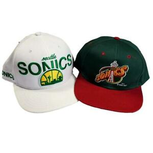 Vintage Seattle Sonics Space Needle 2 Hat 7 5/8 Fitted Snapback New Era 59Fifty