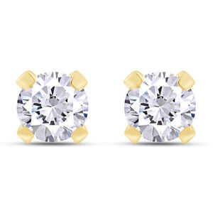 2.00 Ct Round Cut Simulated Diamond 14Kt Yellow Gold Stud Earrings
