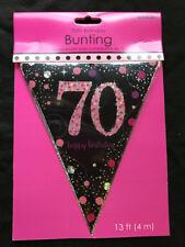70° Compleanno Pennello Bandiera Banner Nero e Rosa Decorazioni Festa 70 Anni