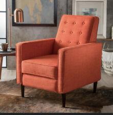 Mason Mid-Century Modern Tufted Fabric Push-Back Recliner W/ Tapered Legs Orange