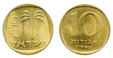 Sixty five (65)  Israel 10 Agorot  Brass Coins,1960 to 1977, KM 26 Date Palm