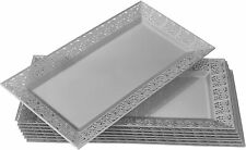 Silver Spoons DISPOSABLE LACE TRAYS Upscale Wedding Dining 6 pc Silver 14 X 7.5