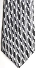 "Burma Bibas Men's Silk Tie 58 X 4"" Silver/Black/Gray Geometric Striped"