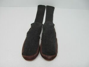 Acorn Dark Gray Knit  Slipper Sock Leather Sole Size Men's 9-10 Women's 11-12