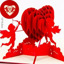 3D Pop Up Greeting Cards Cupid's Red Heart Valentines Day Love Gift Handmade CG