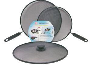 3 x Metal Mesh Splatter Guard Screen Cover Frying Grill Pan Knob Handle Lids Set