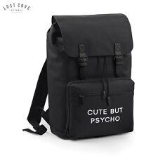 Cute But Psycho Slogan Bag Backpack Rucksack Grunge Gift School Retro Vintage