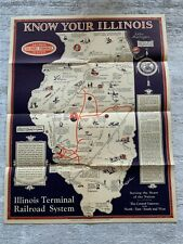 New ListingKnow Your Illinois - Pictorial Map - 1931 - Illinois Terminal Railroad System