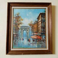 Vintage Original Oil Painting On Canvas Wood Frame Buildings People signed Cute