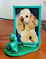 Porte Photo Figurine Chien Caniche Vintage en Céramique