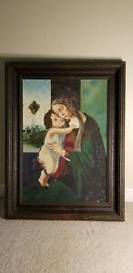 OLDER PAINTING of MADONNA and CHILD - VERY NICE FRAME !