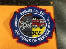 B1-79 NEW YORK FIRE DEPARTMENT PATCH - ENGINE CO. 65 - 100 YEARS OF SERVICE 1898