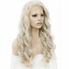 White Blonde Heat Resistant Long Womens Wavy Ladies Lace Front Hair Wig 26 Inches