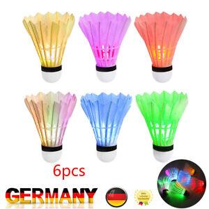 6er Set LED Federball Badmintonball leuchtend Leuchteball Spiel Bunt Kreativ DE