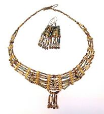 Most Beautiful! Antique Egyptian Mummy Bead Necklace Earring Set Museum Quality