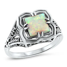 VICTORIAN WHITE LAB OPAL 925 STERLING SILVER ANTIQUE STYLE RING SIZE 6,    #721