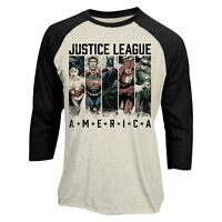 Official Justice League America Raglan Baseball Shirt Strips 3/4 sleeve t shirt