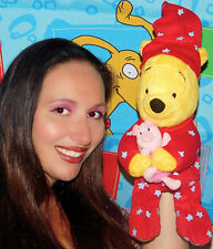 BEDTIME WINNIE POOH BEAR RED PAJAMAS STARS PLUSH STUFFED LOVEY PIGLET TOY BABY