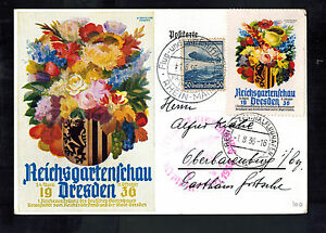 1936 Germany Hindenburg LZ 129 Zeppelin Olympics Postcard Cover Dresden Garden