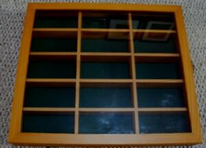 Wooden Model Car Display Show Case Cabinet Wall Mounted Green Lining Used