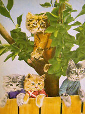 Harry Whittier Frees 4 Cute Kittens on the FENCE and in a TREE 1958 Print Matted