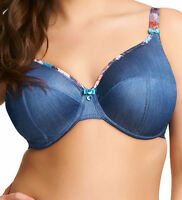 Brand New Elomi Lingerie Roxy Full Cup Bra 8700 Denim/Floral VARIOUS SIZES